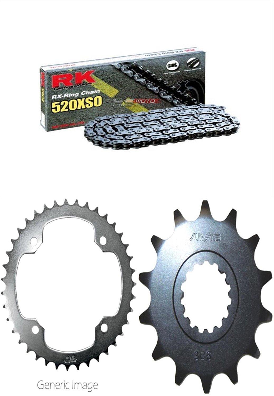 RK RX-Ring Chain 520XSO, SUNSTAR Front & Rear Steel Sprocket Kit for ATV/UTV YAMAHA YFM700R Raptor 2006-2016