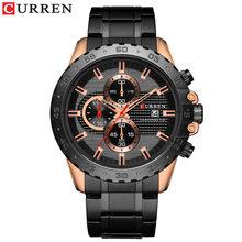 CURREN/Новинка 2019, стильные элегантные кварцевые часы, мужские спортивные часы с хронографом, черный стальной ремешок, 8334(Китай)