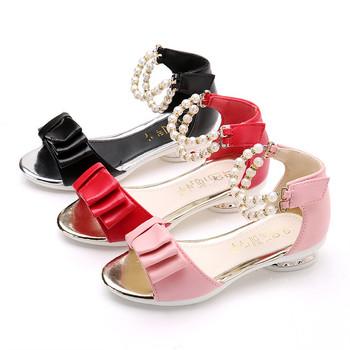 Nieuwe Kinderschoenen.Qk159 Zomer Nieuwe Kinderschoenen Prinses Korea Parel Strik Sandaal