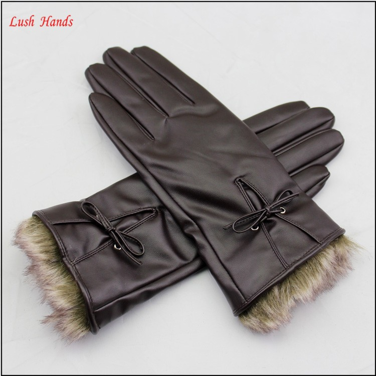 ladies brown pu leather hand gloves with fake fur