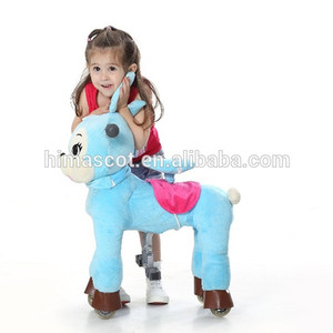 HI CE Top sale blue sitting plush horse toy walking horse toy for adult and child