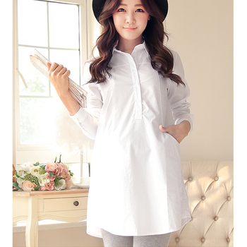 9439a8cd5c284 mature womens clothing Maternity apparel white shirt for Pregnant Women  style