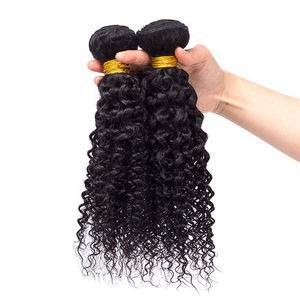 Natural black color remy human hair extensions malaysian weave bundles kinky curly hair