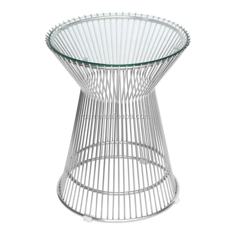 Superior USA Style Replica Designer Furniture Gold Plated Steel Wire Rod Base  Platner Side Table