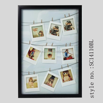 Hanging Gallery On Line Paper Photo Frames Wooden Clip