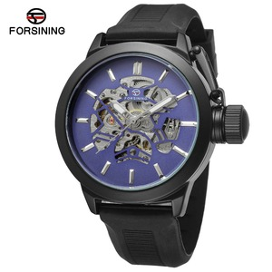 Forsining Blue Skeleton Dial Rubber Band Mens Sport Safe Crown Mens Watch Top Brand Luxury Black Automatic Wrist Watch