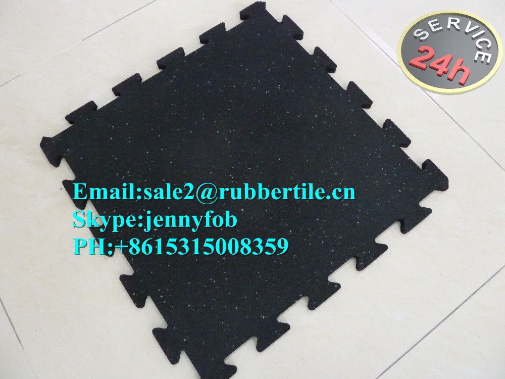 Interlock rubber gym floor /puzzle edged rubber floor tile / sports rubber floor mat