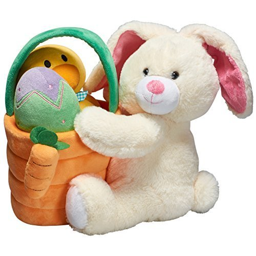 Prextex Plush Easter Basket with Plush Easter Bunny Filled with Plush Easter Egg, and Plush Easter Baby Chick in Easter Basket . Great For Easter Basket And Easter Eggs Hunt