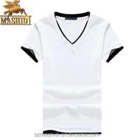 Young man tide v-neck slim short sleeve white pure cottonT-shirt