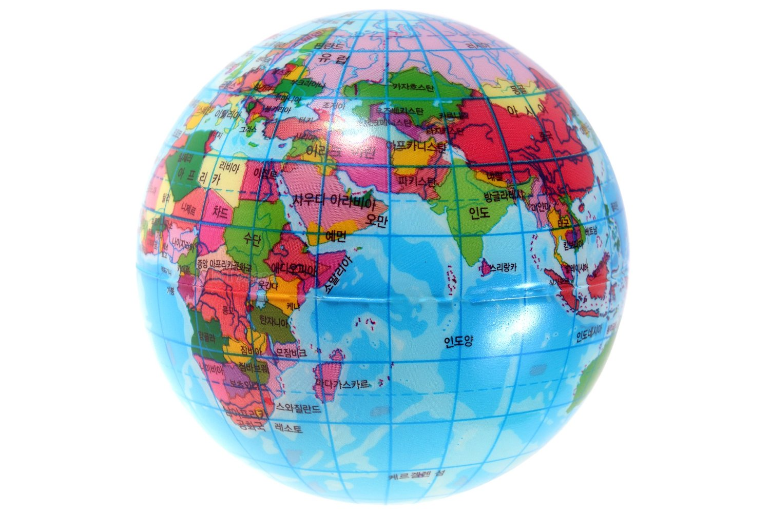 World Map Sponge Ball Bouncy Foam Ball Earth Globe Geography Stress Relief Toy Korean Text Printed Interior Decoration Toy