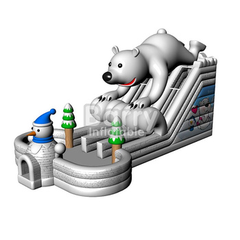 China inflatable PVC inflatable slide, bear animal cheap inflatable dry slide for kids