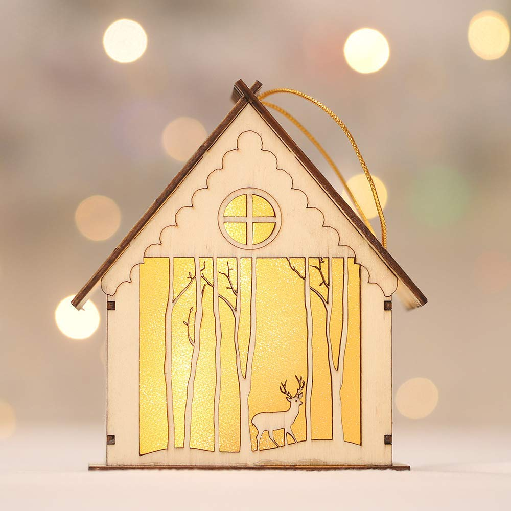 Christmas LED Light Wooded House Room Decor Lamp Christmas Tree Hanging Ornaments Table Kids Room Pendants Lamp Xmas Gift elk