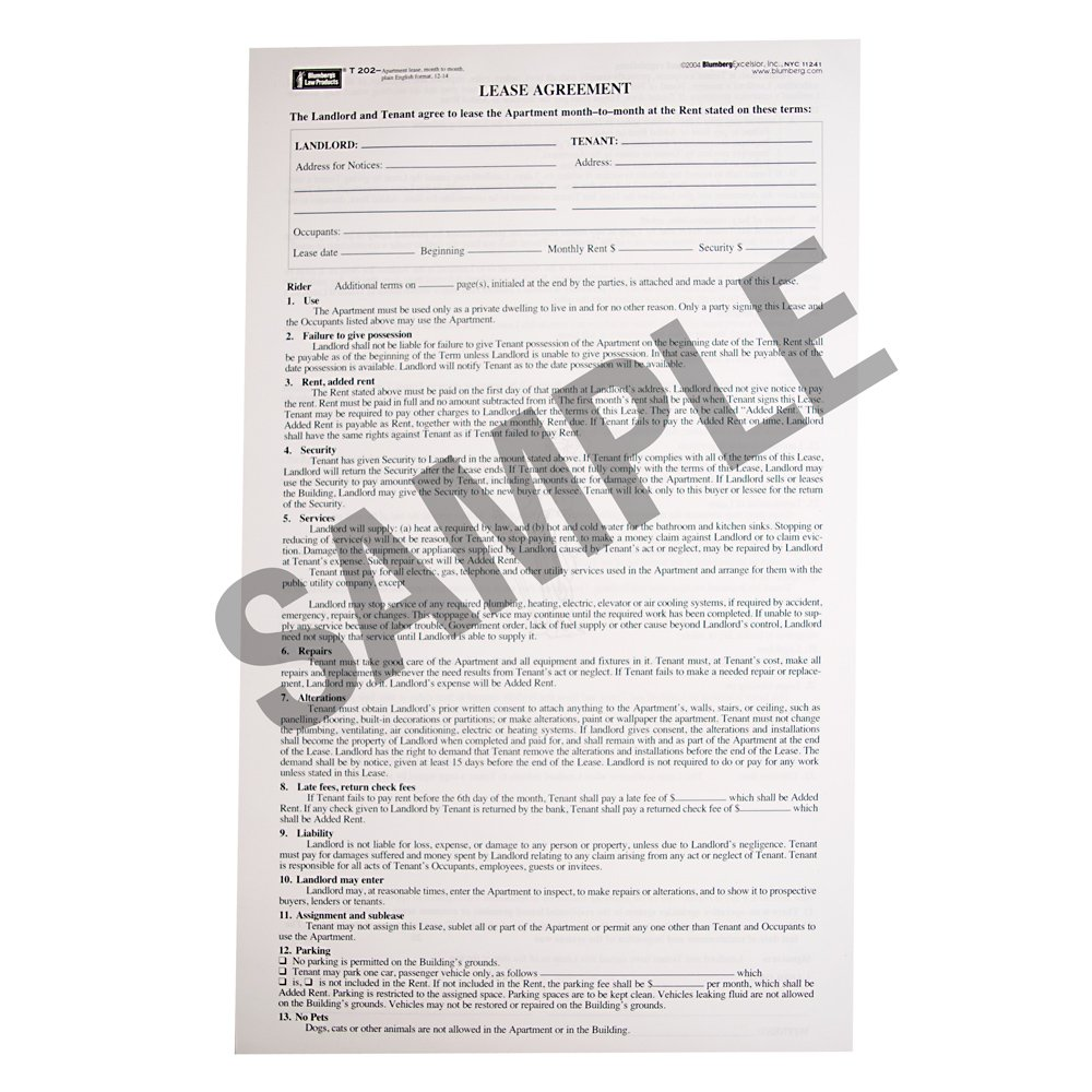 Blumberg New York Month-to-Month Apartment Lease Form 202 (8.5 X 14)