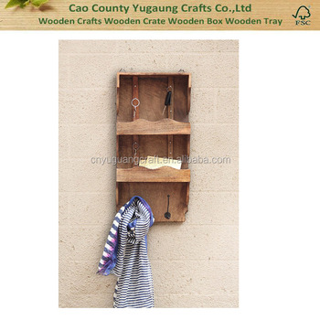 Wooden Hanging Wall Key Ring Holder With Hooks And Storage Compartment