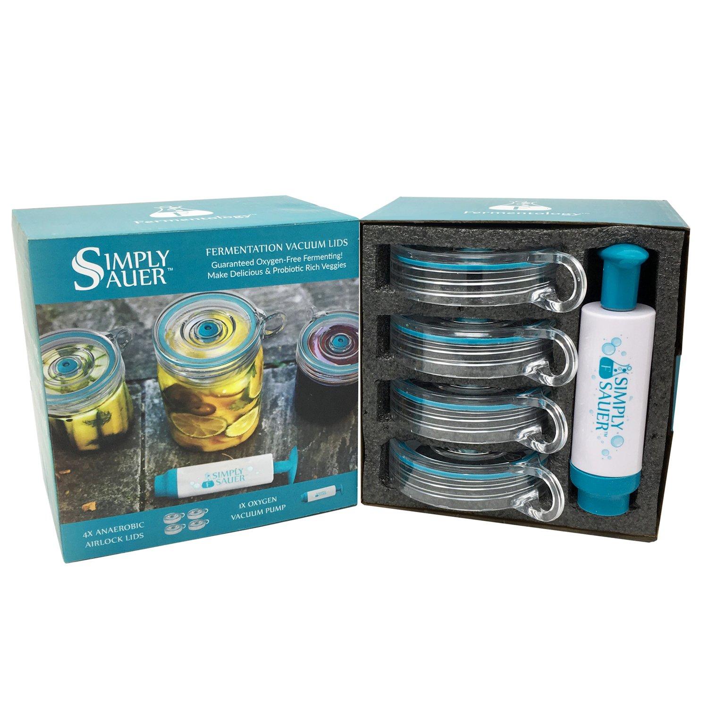 Fermentology Simply Sauer Vegetable Fermentation Kit for Wide Mouth Mason Jars – Oxygen Pump and Airlocks – 5 Piece Kit