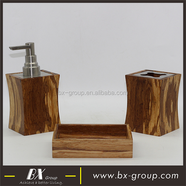 BX Group 3pcs Modern Wooden Bathroom Accessory Set In Low Price