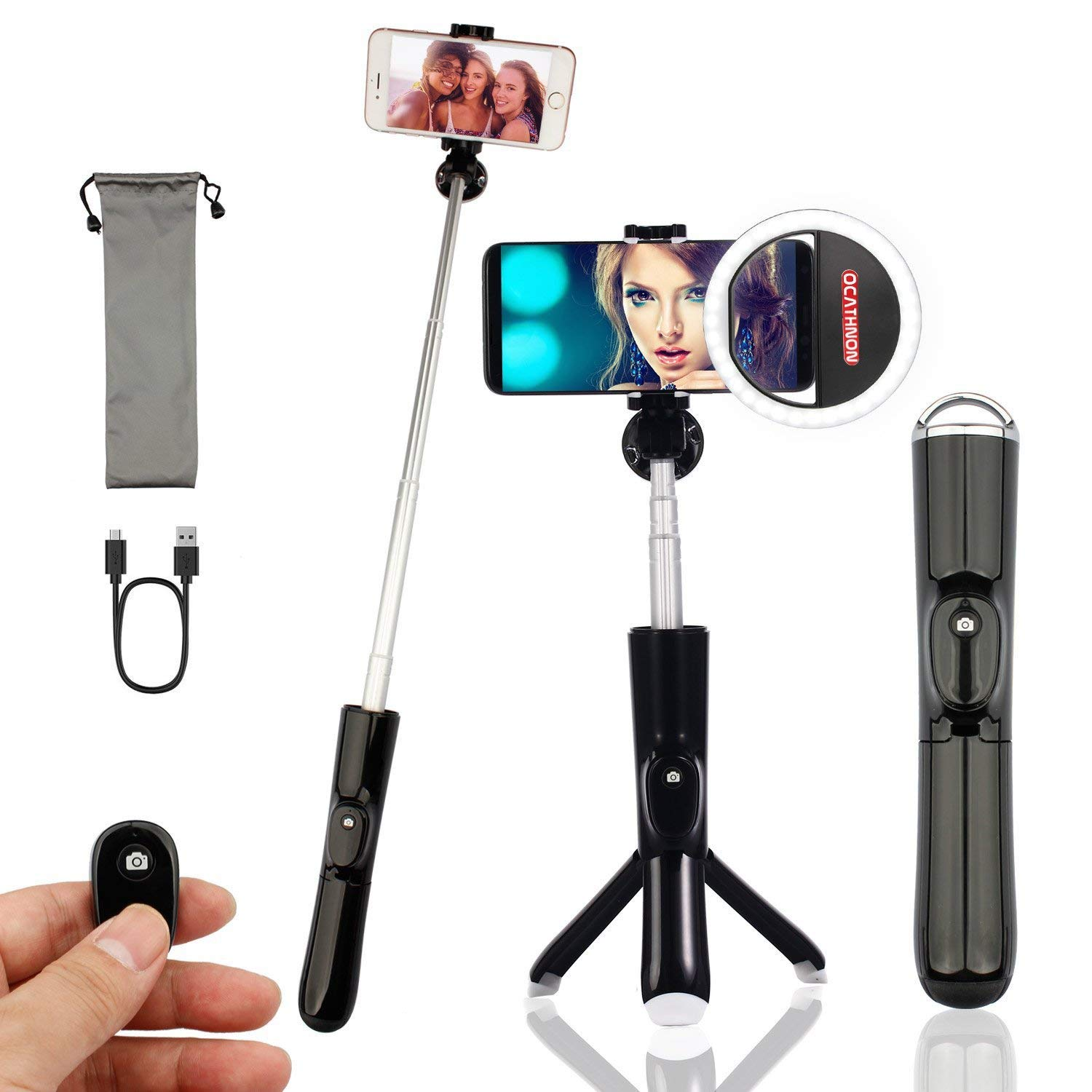 Bluetooth Selfie Stick Tripod Remote Plus Ocathnon Selfie Ring Light Rechargeable, Extendable Monopod Tripod Stand 360 Degree Rotation to Support Selfie for iPhone7 8 Plus X/Galaxy S8/9 More Cellphone