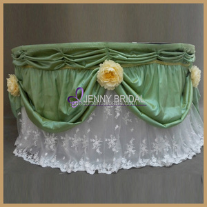 TC129A fancy flowers decor 120 132 taffeta and embroidery lace round fancy tablecloths