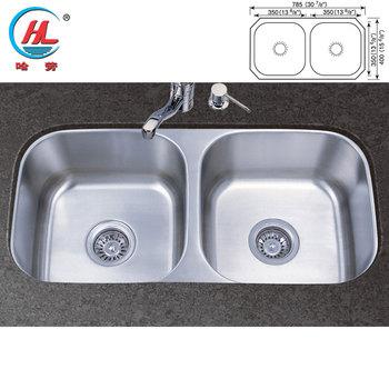 Free Sample Fashionable Small Undermount Double Bowl Kitchen Sink