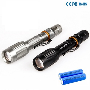 Factory Supply Aluminum High Lumen Zoom 10w xml t6 Tactical Rechargeable 2x18650 battery led torch
