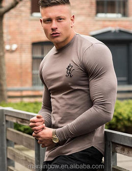 b195c19ce 96% Cotton 4% Elastane Mens Long Sleeve Gym Fitted T-Shirt Muscle  Bodybuilding