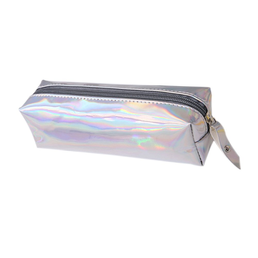 Qinlee Pen Bag Pencil Case Holder Solid Color Storage Cosmetic Bag Pouch Stationery with Holographic Zipper for Students Office School Supplies (Silver)