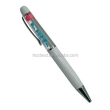 promotional promotional floating pen with 2D/3D objects inside , liquid floating pen