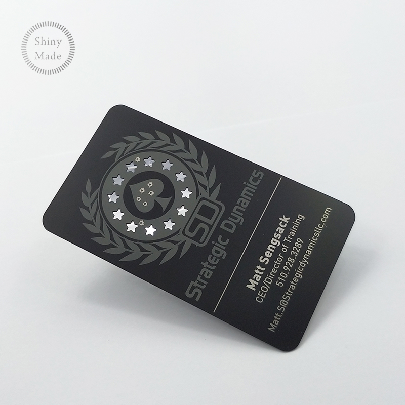 Custom stainless steel business card laser cut matt black metal card