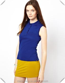 5c14a05dd34b5 Women s Sleeveless Stretch Pique Cotton Polo Shirt Womens Solid Blue Plain  Sleeveless Golf Polo Shirt
