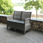 Patio Sofa Set 4 Pcs Outdoor Furniture Set PE Rattan Wicker Cushion Outdoor Garden Sofa Furniture with Coffee Table Bistro Sets