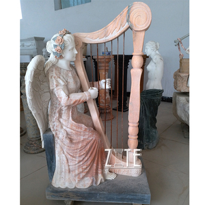 Classical Design Life Size Girl Playing the Harp Marble Statue