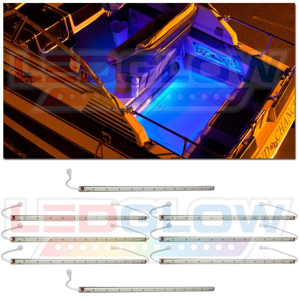 LEDGlow 8pc Blue LED Boat Deck and Cabin Lighting Kit - 288 LEDs - Waterproof Connectors and Light Tubes