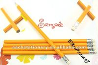 2012 hotsale HB standard yellow colored pencil with rubber and logo available in bulk