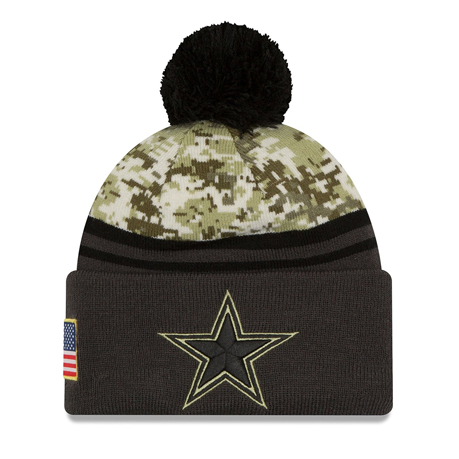Get Quotations · Dallas Cowboys New Era 2016 NFL Salute To Service Pom Knit  Hat (One-Size a7817d873