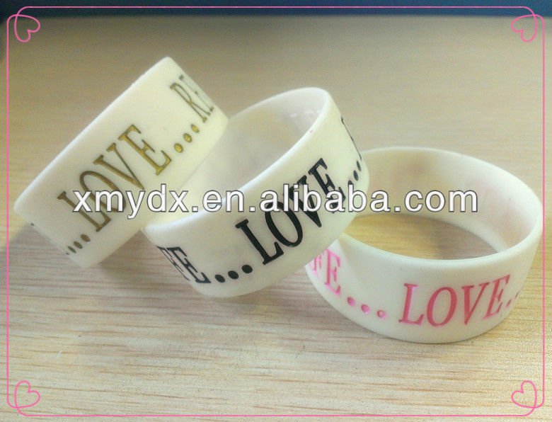 All kinds white color 100% silicone bracelet/wristband/hand band