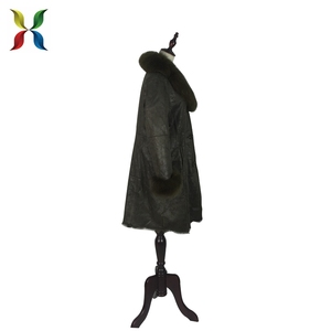 Most warm faux suede leather long men coat with fox fur collar