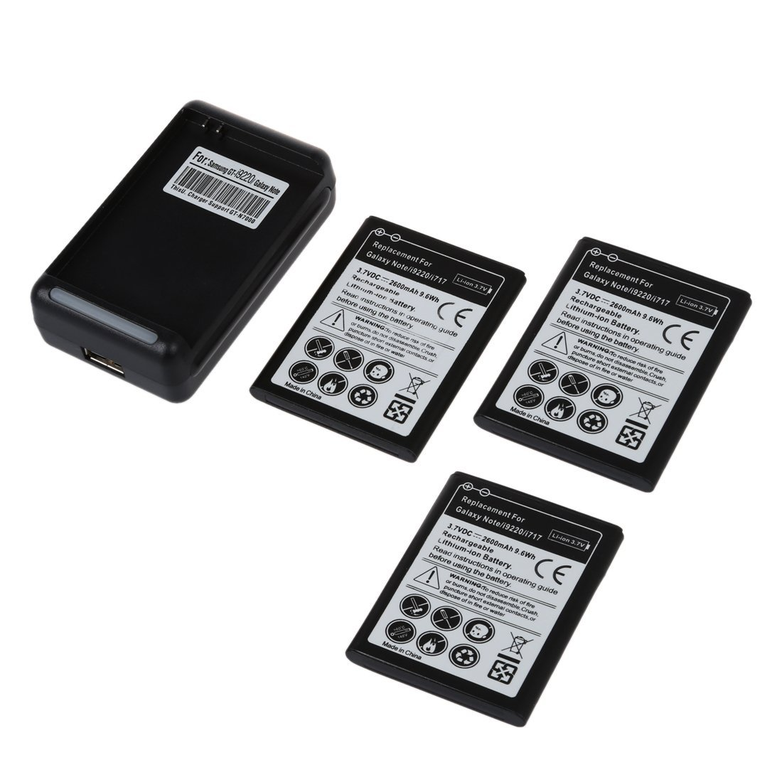 SODIAL(R) 3X 2600mAh Battery + Dock Wall Charger for Samsung Galaxy Note i9220 GT-N7000