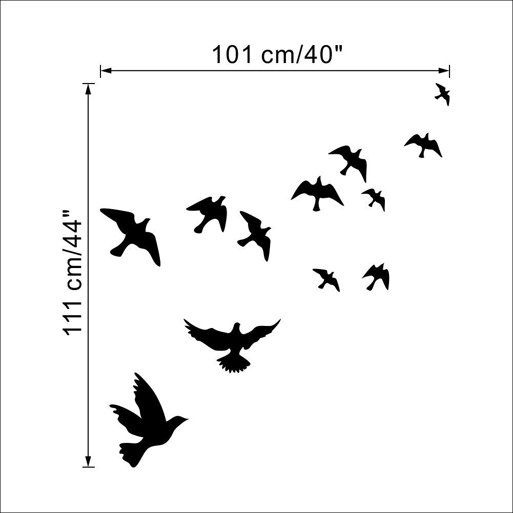 """Dnven (40""""w X 44""""h) Flying Birds Peace Doves Pigeons Bedroom Wall Decal Stickers Art Decor Home Vinyl Children Rooms Kids Rooms Wall Decals"""