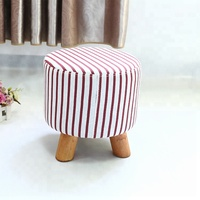 Design wholesale pink simple solid wood leg leather ottoman stool