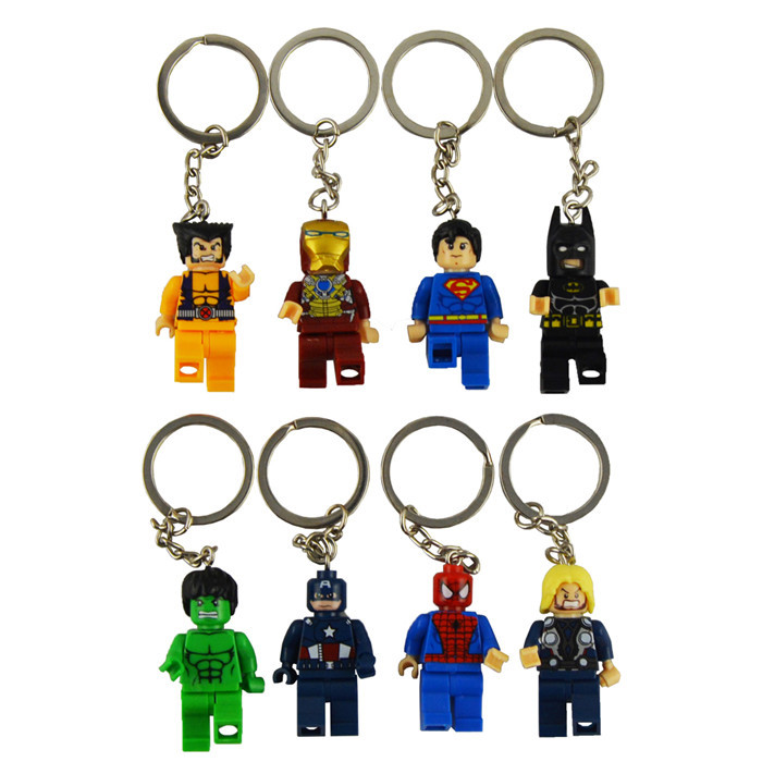 8pcs lot movie Super Hero Avenger Keychain Kid Baby Toy Mini Figure Building Blocks Sets Model