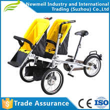 New design foldable double seat 3 in 1 multifunction Mother and twin baby bike stroller