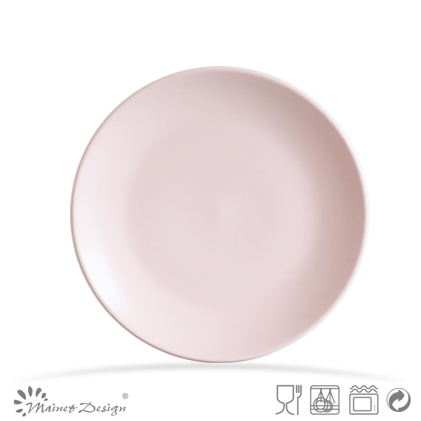 round shape pink ceramic dinner plates matt glazed salad plate for promotion
