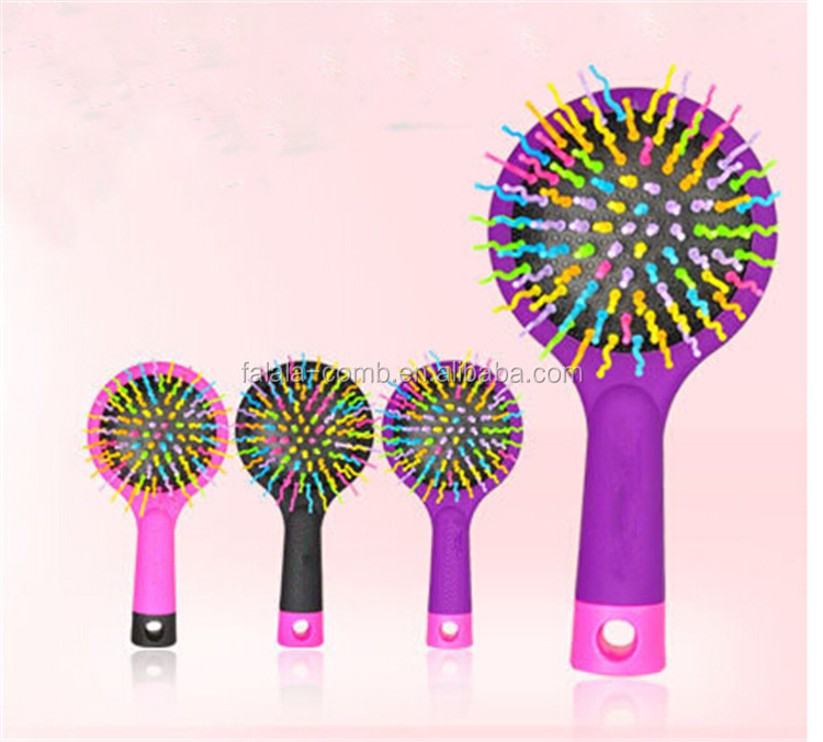 Small plastic hair comb rainbow massage soft hair comb
