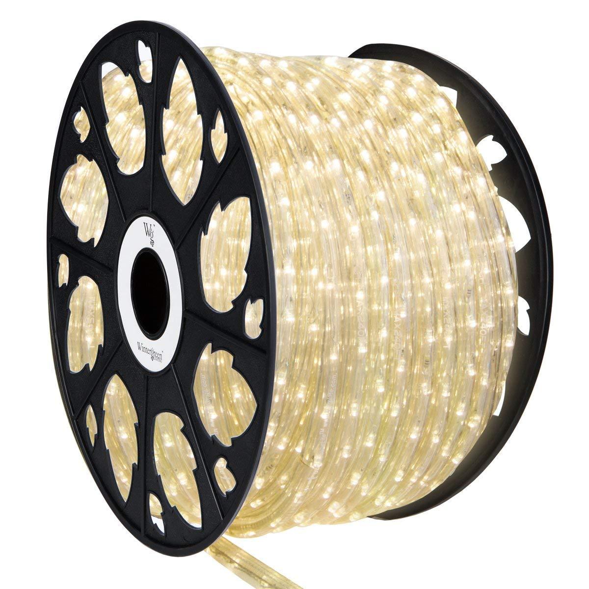 Wintergreen Lighting LED Rope Light Kit – Light Rope Outdoor, Christmas Light Rope Light Color – LED Rope Light, Includes Rope Light Clips and Power Cord, 120V, ½ Inch, 2-Wire (150 ft, Warm White)