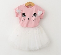 Korean version of the summer new girls cat T-shirt butterfly pettiskirt mesh skirt children short sleeved two piece suit