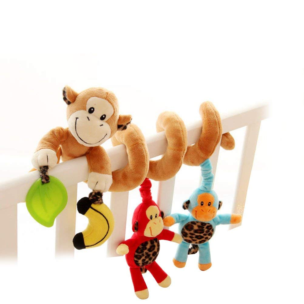 TOYMYTOY Cute Monkey Infant Baby Activity Spiral Bed Stroller Toy Bed Musical Rattles Hanging Bell Crib Toy Stroller Toy