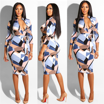 fancy geometric printed three quarter sleeve woman fashion dresses for party wear