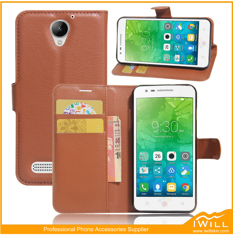 Small MOQ Flip Leather PU Case For Lenovo Vibe C2 Power wallet cover