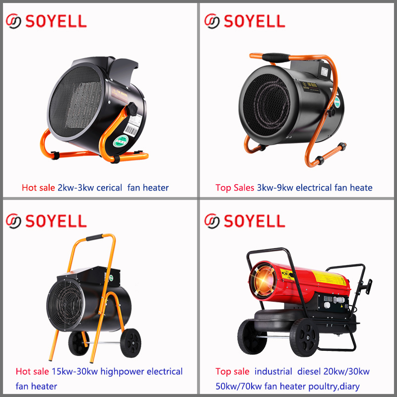 SOYELL 220v ceramic tablet portable high power 3kw industrial fan heater