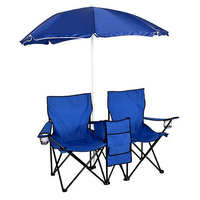 Portable Folding Beach Camping Double Chair ,Table Beach Chair Sun Outdoor Shade With Umbrella